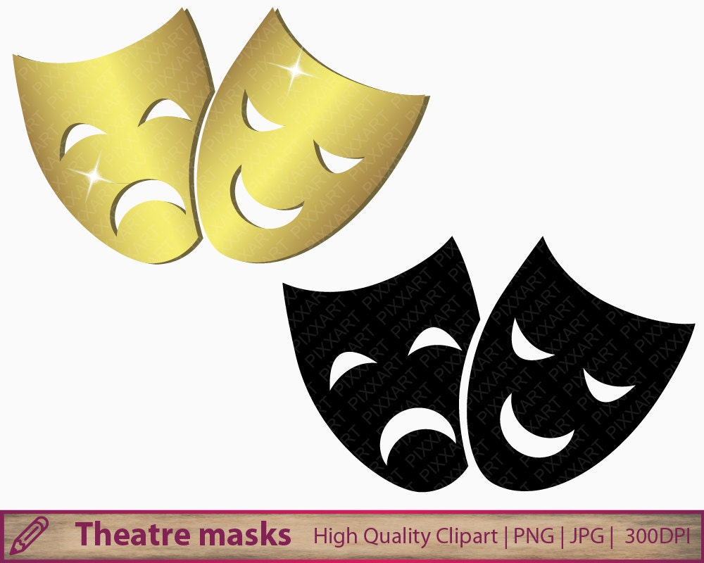 Theatre masks clip art pantomime clipart opera happy sad