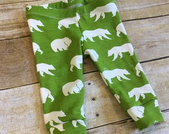 SALE! Size 6m Organic baby leggings - Baby boy leggings - Baby boy pants - bear print baby leggings - gender neutral legging - ready to ship