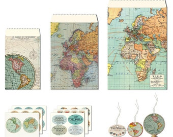 Cavallini & Co. Vintage Maps Petite Parcel Wrapping Set.  Gift Tags, Gift Bags, Favor Bags, Stickers