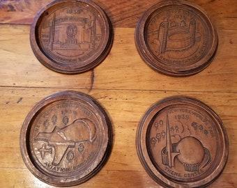 Rare VINTAGE 1939 New York WORLD'S FAIR Wood Coaster