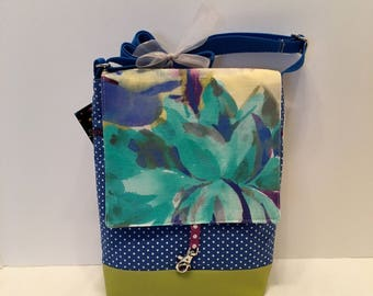 AJM29- Just Right Medium: stunning watercolour flower fabric with zipper front pocket and top closure, inside pocket and an adjustable strap