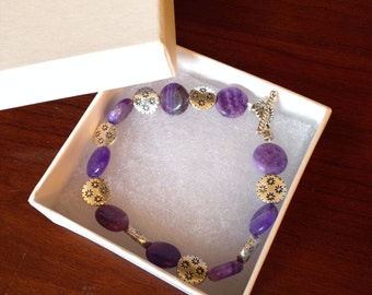 Amethyst and Silver Beaded Bracelet with toggle clasp