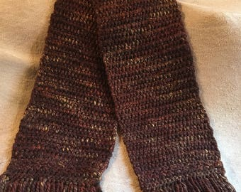 Sequoia Brown Crocheted Winter Scarf w/ Fringe