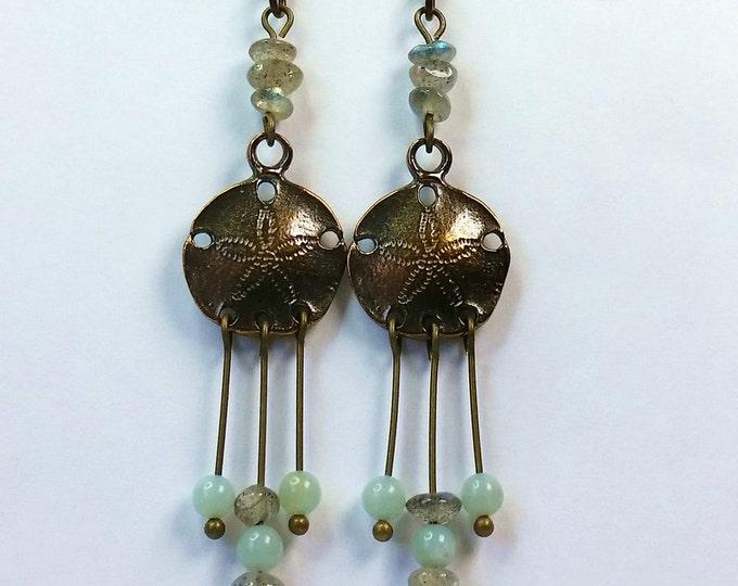 Sand Dollar Chandelier Earrings - Antique Brass Earrings - Labradorite and Amazonite Earrings - Chandelier Earrings