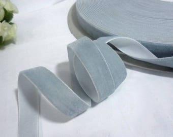 6 yds - 25 yds  Soft Grayish Blue / Dusty Blue Velvet Ribbon Trim Craft Wrap 3/4 inch / 1.9cm / 19mm  W21 -078