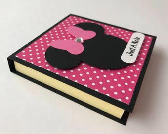 """Handmade """"Minnie Mouse"""" Post It Note Holder, Notes, Party Favor, Post it"""