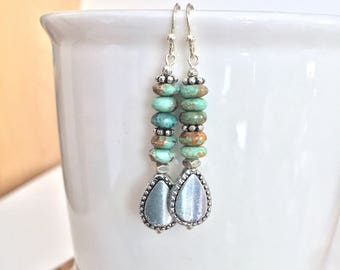 Earrings, Turquoise, Silver, Pewter