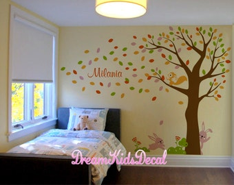 Nursery wall decals, Wall Stickers, Wall Decals for kids, Bunny wall decal, Nursery Art, White tree, Bunny, Name Wall Decal-DK225