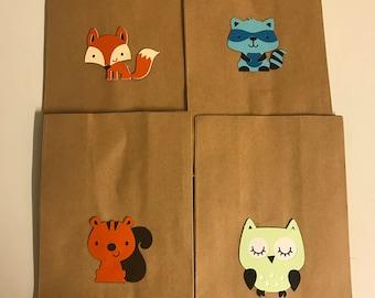 Set of 10 Woodland Animal Favor Bags