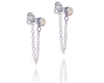 Stone and Chain Earrings - Cubic Zirconia - CZ - Sterling Silver - Dangling Earrings - Stud and Chain