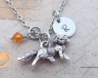 Fox Charm Necklace, Personalized Antique Silver Hand Stamped Initial Birthstone Fox Charm Necklace