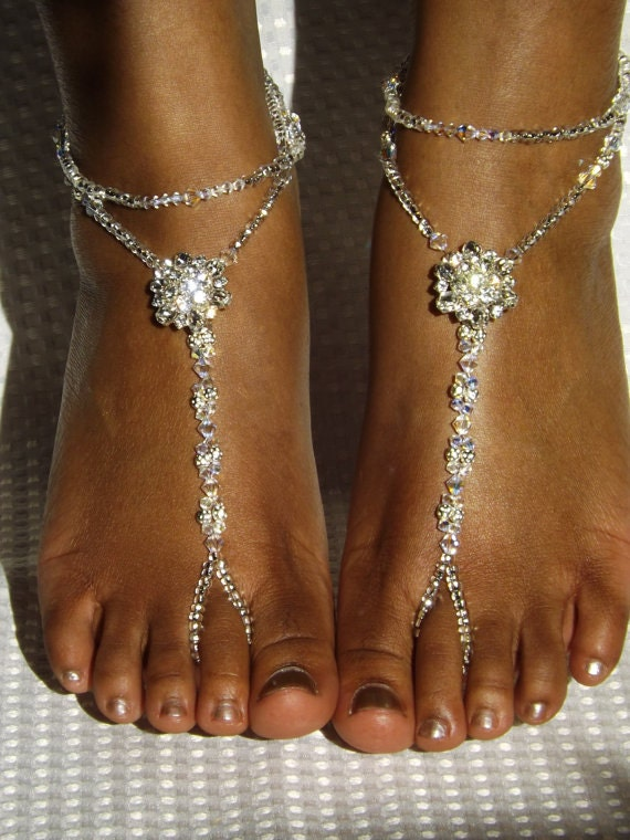 Swarovski Barefoot Sandals Rhinestone Destination Wedding