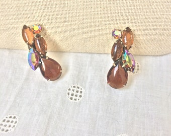 1950 Chocolate cabochon and crystal clip on earrings
