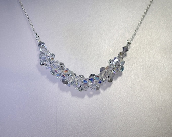 Swarovski Crystal Bridal Jewelry - Necklace - Made to Order / Any Color - Woven Crystal - Party, Wedding, Prom, Anniversary, Bride