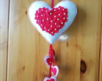 Handmade felt heart, decoration, nursery wall hanging