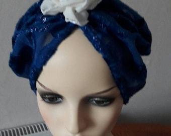 vintage inspired 1950s royal blue hat turban hijab Chemo Alopecia size 57 cm