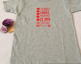 "Boy's Valentines Day T-Shirt size 4-5 x-small ""sorry ladies mommy is my valentine"" grey and red vinyl"