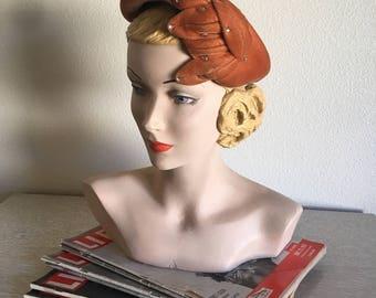 Vintage 1940's 50's Burnt Orange Autumnal Hat with Rhinestone Accents