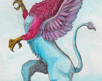 Griffin: Watercolored Pen and ink drawing of mythical beast, half eagle, half lion, 5x7 wall art for fantasy collectors