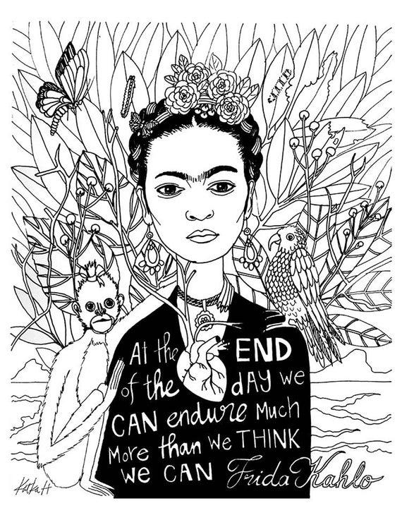 Frida kahlo coloring book page black and white lineart instant download printabledigital illustration adult coloring