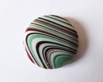 1 flat disc shell bead 25mm waves pattern