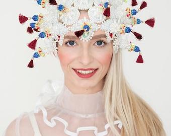 burning man headpiece, costumes Headpiece Headdress hat, white head piece, Carnival Headdress, queen crown, goddess headpiece wedding hat