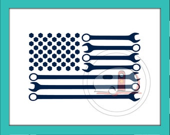 American Flag, SVG, Mechanic, Flag Cut File, Wrench, Patriotic, Flag, American Flag SVG, Patriotic Car decal, American Pride, Decal, America