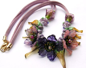 Lampwork Floral Romantic Necklace, Flower Beads Necklace, Glass Purple Flowers Necklace, Unique Gift, Made to Order  !