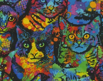 Timeless Treasures - Cattitude - Packed Cats - Multi - Fabric by the Yard C4140-MLT