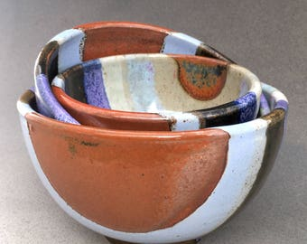 Collectible Handmade Rare Stoneware Art Pottery Nesting Bowls Set of 3 Wheel Thrown Rainbow Glaze Signed By Artisan Hand Made Heirloom Gift