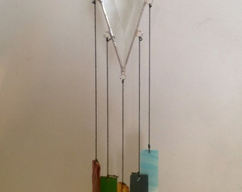 Stained Glass Beveled Wind Chimes -Made in the USA