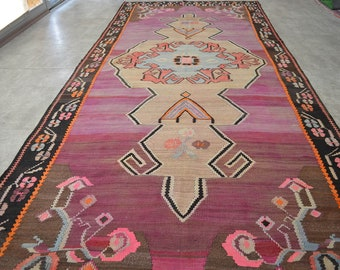 "5'4'' x 13'3'' Turkish Kilim Rug. Hand Woven Flat Weave AnatoliaN PURPLE Area Rug 64"" x 159"". Dinner table Rug . sku:  MRK8617"