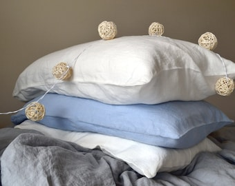 White linen pillow case. Pure white or Antique white. White linen bedding. Pillowcase available in all sizes.