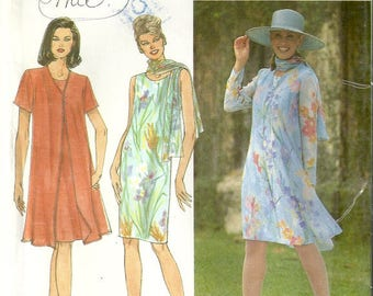 Vintage Simplicity 8054 Misses Summery Dress Coat & Scarf Sewing Pattern Size 6 - 8 - 10