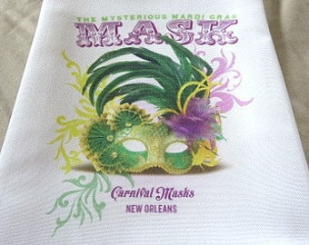 Mardi Gras Mask Towel - Kitchen Towel - Hostess Gift - New Orleans Handtowel - New Home Gift - Wedding Gift - New Orleans Gift - Mardi Gras