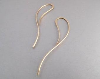 Gold Threader Earrings, Minimalist Dangle Earrings, Gold Earrings, Lightweight Gold Earrings, Art Nouveau Threader Earrings Gold Jewelry,