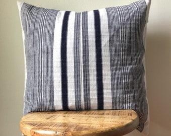 Natural 22 x 22 Hamong Embroidered Stripe Tribal Pillow Cover - Hand made in the hills of the Hmong Tribe - Natural Sand with Navy