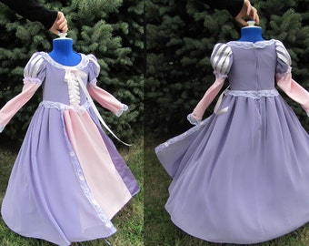 Costume, Girls, Rapunzel, Tangled, Chiffon, Satin, Upcycled  CUSTOM ORDER