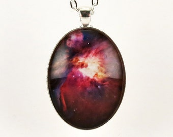 Galaxy Pendant, Outer Space Nebula Necklace, Cosmic Jewelry