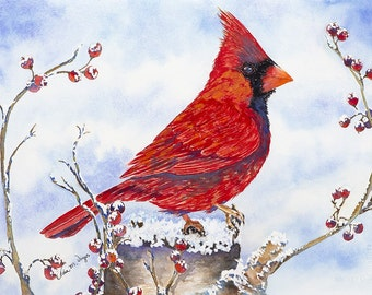 Cardinal with Berries 11x14 Giclee Print - Clearance