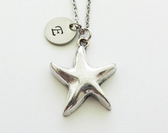 Starfish Necklace, Star Necklace, Sea, Ocean Jewelry, Summer, Beach, BFF Birthday, Silver Jewelry Personalized, Monogram Hand Stamped Letter