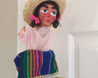 Vintage Marionette Puppet Mexican Girl Painted Mexico Folk Art Big Sombrero