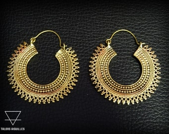 Boucles d'oreille laiton # brass earrings # tribal hoop 44-637