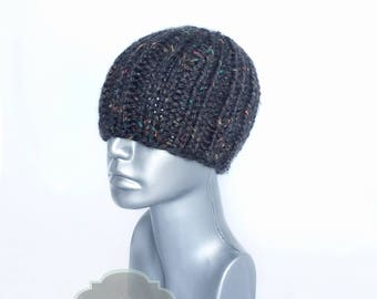 Dark Grey Chunky Unisex Hat, Charcoal Gray Ribbed Knit Beanie, Black Tweed Winter Hat , Gray Ribbed Knit Hat, Ski Cap