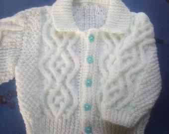 Fiachra baby and toddler aran cardigan knitting pattern PDF