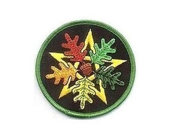 """Oak Leaf Pentagram Patch - 3"""" Round patch, Iron-on patch, Sew-on applique, Wiccan pagan, Embroidered patch, Leaf patch, Nature applique"""