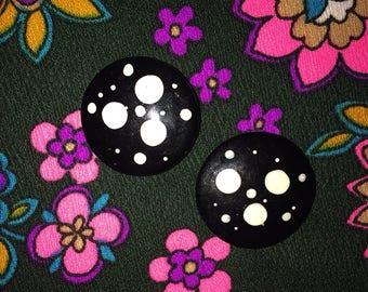 Vintage 1980 Polka Dot Earrings