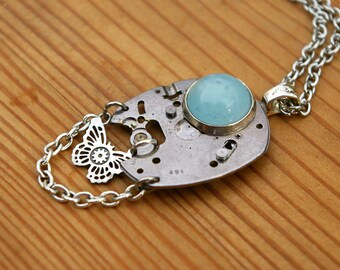 Aquamarine Witchy Necklace Eye Fairy Urban Fantasy Recycled Watch Part Steampunk Industrial Pendant