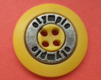 10 buttons yellow silver 18mm (4488) button