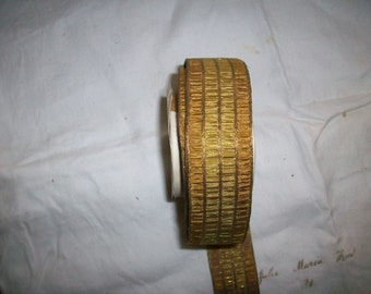 1 foot of a Rare antique silk and metal German ribbon